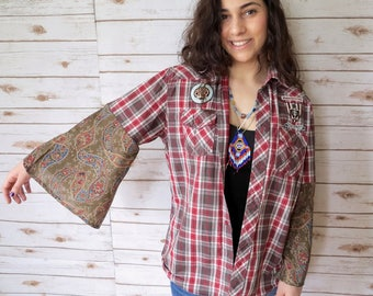 "Paisley and Plaid Bell Sleeve Patch Crochet Doily Button up Shirt Top ""One Size"" Small Medium Large XL"
