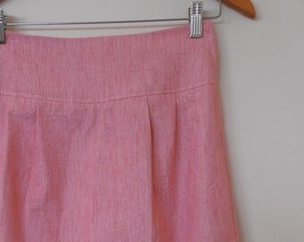 in the pink...straight skirt with side seam pockets in vintage cotton