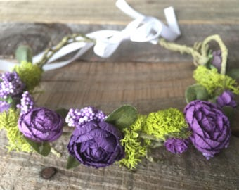 Flower Girl Floral Crown, coloe can be customized