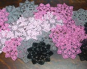 "lot of 16psc Hand Crochet 6"" Doilies Pink Blck Gray,Coasters 4psc in each color"