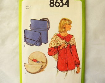 Vintage Simplicity 8634 sewing pattern Misses blouse scarf and handbag 1970s Uncut bust 34