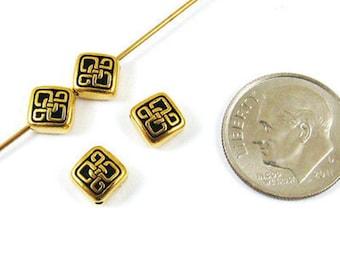 TierraCast Pewter Beads-Gold Small CELTIC DIAMOND (4)