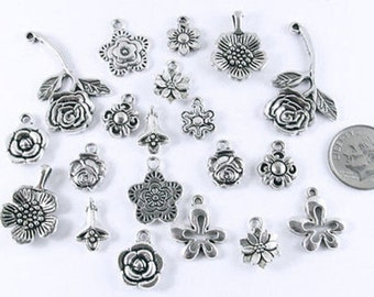 Silver Metal Flower Charms-SILVER MIX (20 Pcs)