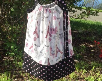 Pillowcase Dress Paris Eiffel Tower Pillowcase Dress Little Girls Custom Made Dress Size 2t 3t 4t 5t Pillowcase Dress Summer Dress