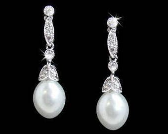 Vintage Art Deco bridal earrings style antique pearl 1920s style wedding bridal pearl drop earrings