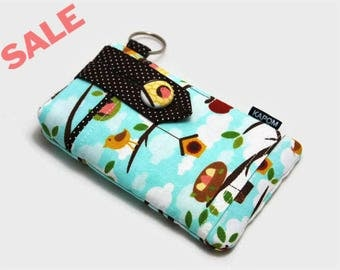 SALE & Ready to Ship - Fabric Pouch for iPhone SE, iPhone 5 and 5s, Button Closure  - Home sweet home out on a limb