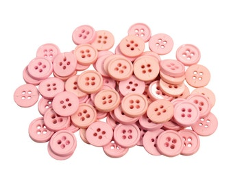 Set of 70 Classic Round Plastic 4-Holed Craft Sewing Buttons - Solid Pale Ballet Pink (12mm)
