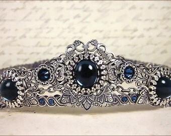 Silver Bridal Tiara, Navy, Dark Blue, Renaissance Wedding, Medieval Crown, Ren Faire, Tudor Costume, Bridal Headpiece, Choose A Color