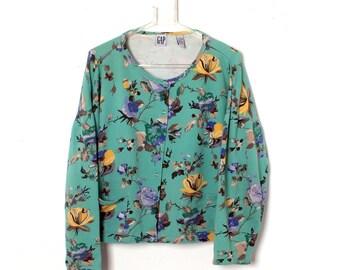 Vintage 90s GAP Floral Pocket Snap Closure Sweatshirt Cardigan M