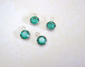Swarovski Crystal Emerald Silver Metal Bezel Charms - Set of 8 - 10x7mm