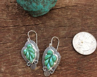 Turquoise antique glass earrings,  turquoise leaf drop earrings, iridescent turquoise glass earrings