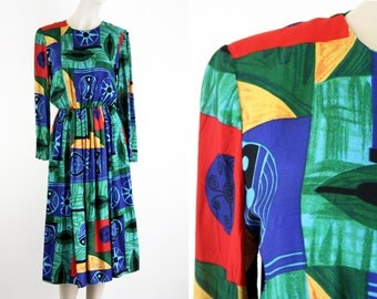 Vintage Just In Thyme Ltd. 90's Multicolor Long Sleeve Crew Neck Midi Skirt Retro Funky Woman's Dress