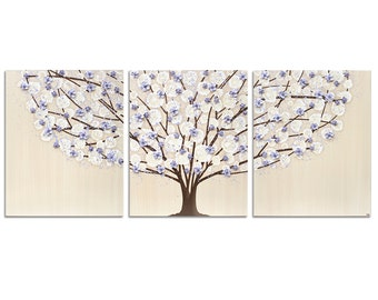 Lavender Nursery Tree Wall Art Painting on Triptych Canvas for Baby Girl - Large 50x20