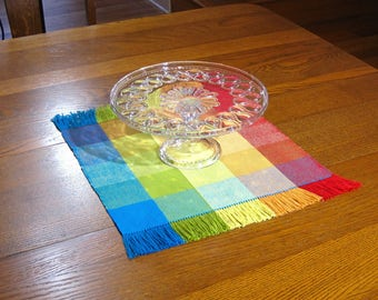 Fiesta Hand Woven Table Mat Woven Red, Orange, Yellow, Blue and Lime Table Mat  Woven Plaid Table Mat Tropical Woven Coffee Table Scarf