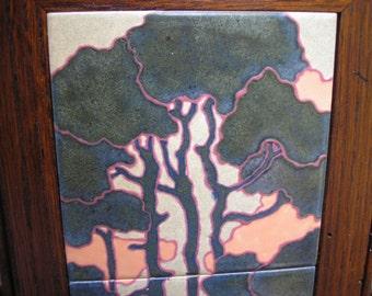 Scots Pine Sunrise Framed Tile Trio, arts and crafts, mission style, decorative tile