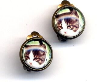 Cat Clip On Earrings , Clip on Earrings Earrings, Clip Kitty Earrings, Cat Earrings, Cat Clips Earrings, Kitty Calico earrings by annaart72