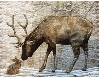Elk Art - Wildlife Art - Wildlife Quilts - Wildlife Decor - Animal Art - Animal Artwork - Animal Quilt - Animal Wall Art - Animal Wall Decor