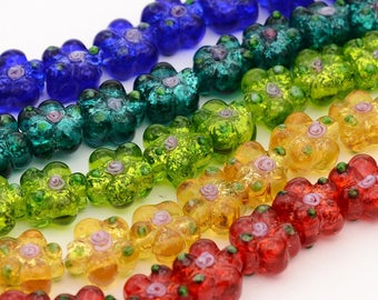 Lampwork Glass Flower Bead Mix -  20 beads - *See note for colors