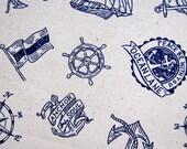 Cotton Linen Blend Fabric - Traveling the Sea - Half Yard