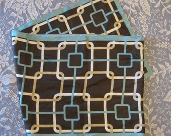 Vintage Silk Scarf - Turquoise Brown White