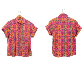 Vintage TRIBAL Shirt Southwestern Patterned Button Up Tshirt Pink Orange Cotton Top Hippie Boho Southwest Pocket Shirt Womens Small Medium
