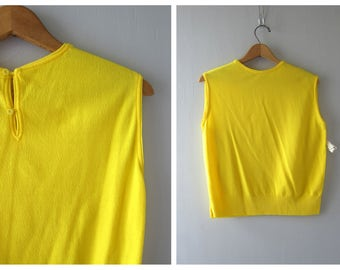 Bright Yellow 70s Shirt Tank Top MOD Sleeveless Blouse Retro Vintage 1970s Plain Yellow Hipster Skater Girl Top Louannes Vintage Size Large