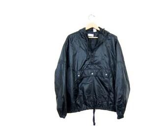 Vintage 90s IZOD Pullover Windbreaker Jacket Sporty Slouchy Athletic Black Pullover Jacket Zip Up Drawstring & Hood Mens Large