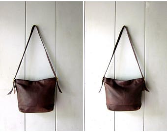 Vintage Chocolate Brown Leather Bag Supple Leather Shoulder Bag Tote Boho Purse Satchel Bag Hobo Bag 90s Dark Brown Slouchy Purse