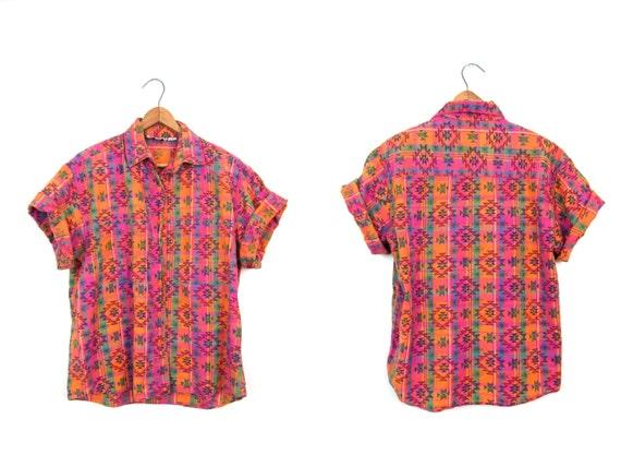 Vintage TRIBAL Shirt Southwestern Patterned Button Up Tshirt Pink Orange Cotton Top Hippie Boho Southwest Pocket Shirt Womens Small Medium