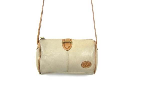 Small Vintage Purse Tan Taupe Leather Crossbody Satchel Across Body Tiny Tote Bag 90s Preppy Leather Purse