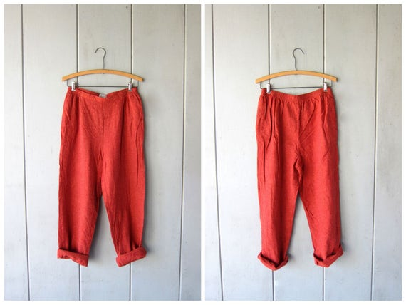 Minimal LINEN & RAYON Trousers Natural Burnt Orange Linen Pants Loose Fit Casual Pants Elastic Waist Trousers with Pockets Womens Medium