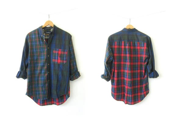 90s Plaid Shirt Oversized Cotton Spring Shirt Blue Green Preppy Button Down Pocket Top DES Collar Oxford Dress Shirt Mens Shirt Size Medium