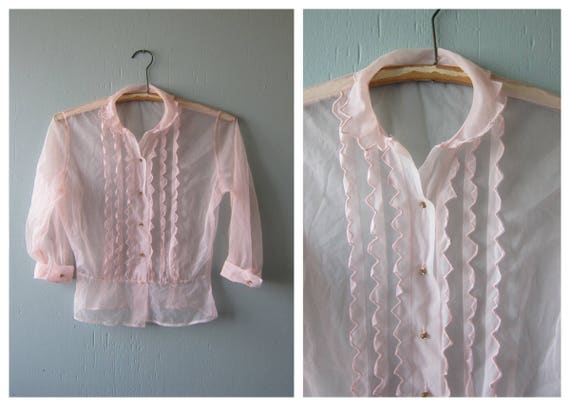 SHEER Pink Blouse Women's Tuxedo Shirt Vintage Rhinestone Button Up Top Burlesque Pin Up Girly Top Women's Size Small Medium Dells