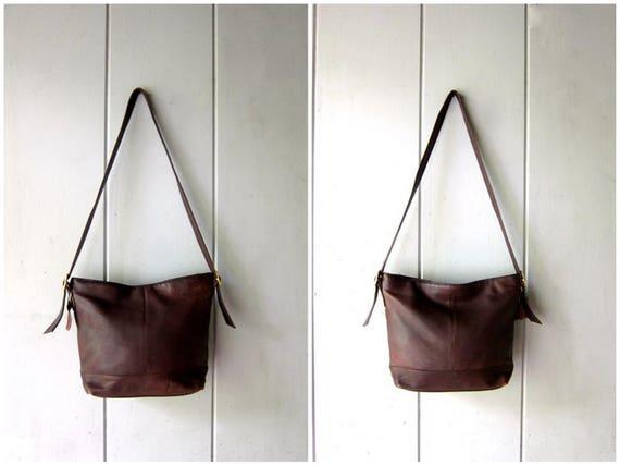 Vintage Chocolate Brown Leather Bag Supple Leather Shoulder Bag Tote Boho Purse Satchel Bag Hobo Bag 90s Dark Brown Slouchy Purse