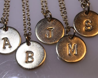Initial Disc Necklace, Sterling Silver or Gold Filled