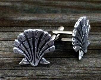 Seashell Metal Cufflinks | Scallop Men's Cuff Links | Nautical Shell Cufflinks | Destination Wedding Cuff Links | by Treasure Cast Pewter