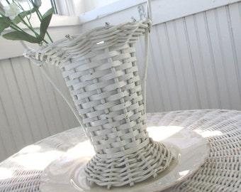 Vintage Basket * Florist * Funeral * White Whicker * Shabby Cottage Farmhouse