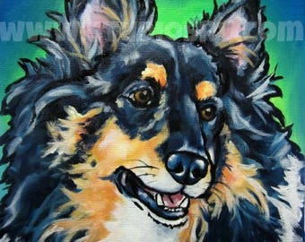 12x12 black tri sheltie PRINT