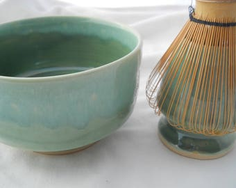 Metallic  Green Matcha bowl and whisk holder
