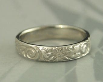 White Gold Wedding Band~Floral Wedding Ring~Women's Wedding Ring~White Gold Band~White Gold Ring~Antique Style Ring~Vintage Style Band~Daisy