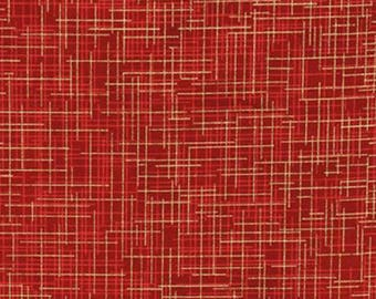 Robert Kaufman Quilter's Linen crimson with metallic gold