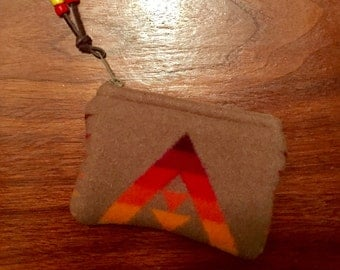 Wool Coin Purse / Gift Card Holder XL Southwestern Geometric Handcrafted Using Fabric from Pendleton Woolen Mill