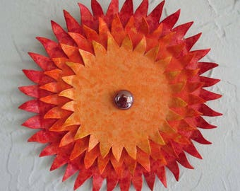 Metal Wall Art Sunburst Sculpture Indoor Outdoor Wall Decor Reclaimed Metal Art Bright Red Orange Yellow 7 inches