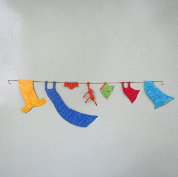 Metal Wall Art Clothesline Sculpture Recycled Metal Wall Laundry Room Decor Whimsical Wall Art Orange Magenta blue Aqua Lime Yellow 10 x 34