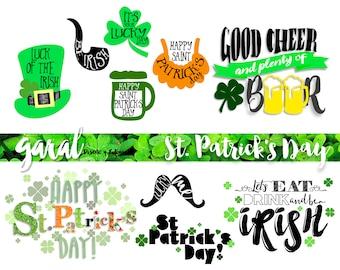 St. PATRICKS DAY Word Art, photoshop overlays, photoshop overlay, word art, png, quotes, die cuts, graphic design, Irish luck,