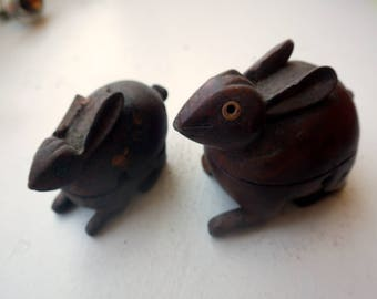 Antique Carved Wooden Rabbits - Hand carved - Thailand