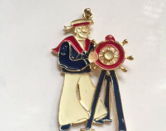 Enamel Sailor pendant - 1940s vintage - gold plated pendant - red white blue - nautical - 4th of July - Americana - rare vintage