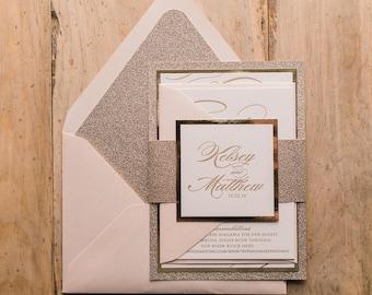 Letterpress, 1 color  - Fancy Blush and Gold Glitter Wedding Invitations - SAMPLE (THERESA)
