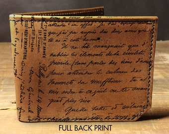 wallet - leather wallet - french writing wallet - mens wallet- 0018