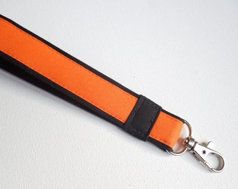Fabric Key Fob,Key chain,wristlet strap,keychain wristlet, Key Holder, Cell phone case wristlet strap,lanyard,universal strap- orange